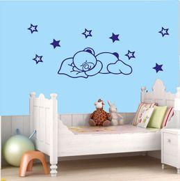 Wholesale Black Bear Wall - Cartoon Wall Decal Sleepy Bear Stars Wall Nursery Kid Room Sticker