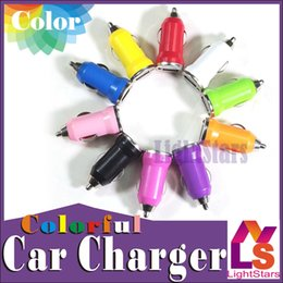 Wholesale Mini Usb Car Charge - For Iphone6 USB Car Charger Colorful Bullet Mini Car Charge Portable Charger Universal Adapter For Iphone 5 GALAXY S6 S5 Free Shipping