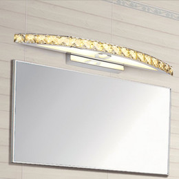 Wholesale Frosted Glass Wall - wholesale Hot Selling Elegant 10W Champagne&Clear LED Crystal Mirror Lamp Bathroom Wall Light Mirror Lighting Fixtures 44cm long CE ROHS