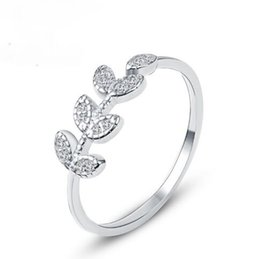 Wholesale Food Gold Leaf - 2017 Plant None Hot Sale Limited Simple And Beautiful Leaf Ring 925 Sterling Female Food Finger Open Personality Korean Jewelry