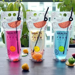 Wholesale Fruit Containers - 500ml Transparent Self-sealed Plastic Beverage DIY Summer Drink Container Drinking Bag Fruit Juice Food Storage party Drink bag