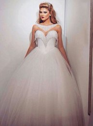 Wholesale making crystal glass - 2017 Bling Ball Gown Wedding Dresses with Bateau Neckline Sweetheart Neck Illusion Beading Glass Crystals Tulle Elegant Bridal Gowns