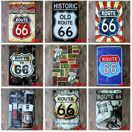 Wholesale Routed Signs - 2015 fashion 20*30cm US route old historic 66 retro Tin Sign Coffee Shop Bar Restaurant Wall Art decoration Bar Metal Paintings