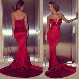 Wholesale Cheap Low Cut Dresses - Sexy Dark Red Satin Mermaid Prom Dresses Low Cut Sweetheart Sheath Court Train 2016 Cheap Tight Evening Dress Special Occasion Dresses