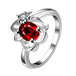 Wholesale Lady Ruby Band Ring - Fashion Women's Rings Jewelry 925 Sterling Silver Rings Natural Ruby Flower Rings Romantic Style Lady Rings