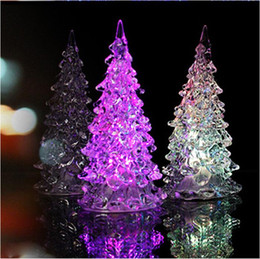 Wholesale Crystal Christmas Tree Decorations - Super Beautiful Mini Acrylic Icy Crystal Color Changing LED Lamp Light Decoration Christmas Tree Gift LED Desk Decor Table Lamp Light