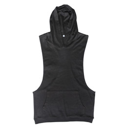 Wholesale Muscle Beach - Wholesale-Fashion Gym Hoodie Muscle Beach Stringer Hoodies Men Clothing Fitness Sleeveless Sweatshirts Clothes Bodybuilding Hoodies