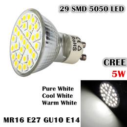 Wholesale E27 Led 29 - MR16 GU10 E27 E14 LED Bulbs 29 SMD 5050 LED Spotlight 5W Pure Cool Warm White Enery Saving Spot Light Lamp Bulb 110-240V LED Downlight