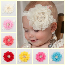 Wholesale Mixed Toddler Girls - 2015 New Baby headbands lace Flower rhinestone pearl Headbands for girls Kids Headband Baby Toddler Head Band Hair Accessories Mix Colors