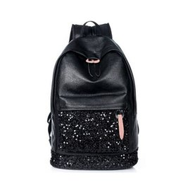 Wholesale Black Leather Backpack For Men - Wholesale-QG6231 New Designer Fashion Black Leather Sequins Backpacks Women Laptop Backpack School Bags for Teenagers Mochila Travel bag