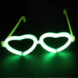Wholesale Heart Shaped Glow Glasses - Wholesale-Party Decoration Funny Fluorescence Heart-shaped Glasses Fluorescent Stick Glowing Glasses Accessories