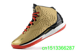 Wholesale One Euro - Wholesale-Free Shipping New Steph One 1 All American Gold USA Bright Crimson Nations Finest Men Basketball Shoes Size US 7-12 Euro 40-46