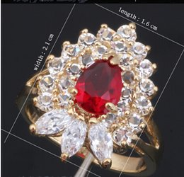 Wholesale Nickel Free Wedding Jewelry - newest 18K Gold Plated Zircon Garnet Ring Earring Necklace Jewelry Set SWA Element Crystal Nickel & Lead free