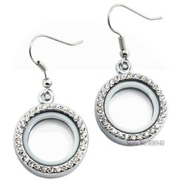 Wholesale Locket Chandelier - 1 pair !! 20mm Silver Round locket earrings glass floating charm locket Zinc Alloy(chains included for free) LSFL017-1*2