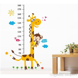 Wholesale Kids Measure Heights - 2016 New S5Q Giraffe Monkey Removable Vinyl Wall Decal Stickers Kids Height Chart Measure Foot tall wall stickers children's room