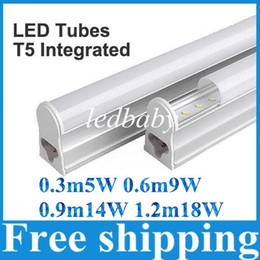 Wholesale T5 5w - LED Tubes T5 Integrated 0.3m 5W 0.6m 9W 0.9m 13W 1.2m 18W SMD2835 AC85-265V Warm White Cool White