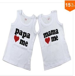 Wholesale I Love Daddy Baby - Baby clothesT-shirt, i love papa mama daddy baby shirt T-Shirt boy & girl without Sleeve sleeve Shirt,Infants&Toddlers T shirt