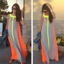 Wholesale Striped Party Dress - Women's Summer Boho Long Maxi Dress Evening Cocktail Party Beach Chiffon Dresses
