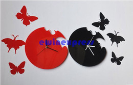 Wholesale Wall Craft Clocks - New DIY Butterfly Adhesive Clock sticker Decor Creative Gift Craft Product Home Decor Decals Free Shipping
