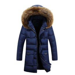 Wholesale Korean Style Jackets For Men - Mens Parkas 2017 Korean Version Slim Young Feather Zipper Style Fur Collar Jackets Warm Coat For Man Long Section Thick Cotton Jacket