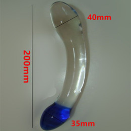 Wholesale Transparent Anal Beads - Erotic Anus Sex Toys For Women And Men Gay , 20*4 CM Large Glass Penis Dildos Cock Anal Pleasure Beads Butt Plug In Adult Games