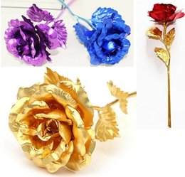 Wholesale Valentines Day Wedding - Romantic 24K Plating Golden Rose Flower Gold Foil Plated Artificial Wedding Festive Party Valentine Day Gift c251
