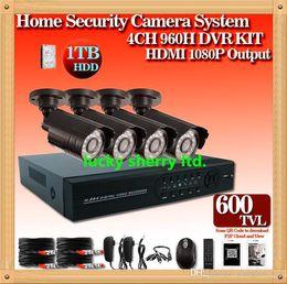 Wholesale Cheap Dvr Kit - CIA-Free shipping DHL,Cheap 4pcs CMOS 600tvl Day and Night vision camera plus H.264 4CH Full 960H network CCTV System HDMI DVR kits