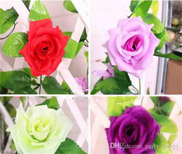 Wholesale Purple Carnations - Simulation Plant 9 Roses Wholesale Flower Vine High-Grade Simulation Silk Rose Flower Hanging Garland Wedding Home Décor Artificial Flower