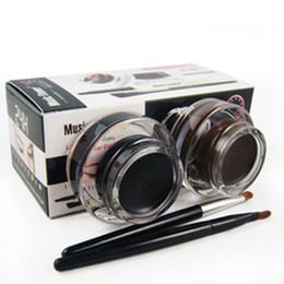 Wholesale Make Up Eyeliner Gel - 2 pcs in 1 lot Brown and Black Gel Eyeliner Make Up Waterproof Cosmetics tools Eye Liner Makeup Eye Brush