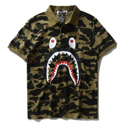 Wholesale Mens Camouflage Shirt Xl - New Mens tide camouflage shark mouth men's casual T-shirt Lapel loose short sleeves