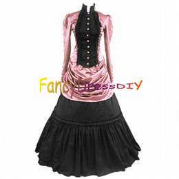 Wholesale Gothic Lolita Dresses - Wholesale-2015 Party Gothic Lolita Dress Halloween Costumes for Adult Women Victorian Halloween dress Fancy Party Dress Customized V094