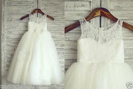 Ragazze abiti da pasqua online-TUTU Pizzo Tulle Avorio Flower Girl Dress Wedding Pasqua Junior Girl Dress Baby