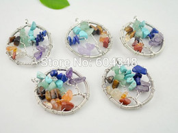 Wholesale Chip Necklaces Wholesale - crystal luxury Crystal Shiny 5pcs Wire wrapped oval round tree of life pendant necklace blue turquoise amethyst flourite crystal druzy chips