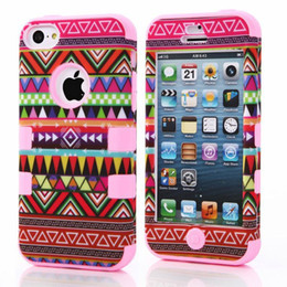 Wholesale Aztec Silicone Iphone Covers - Wholesale-Tribal Aztec Design Robot Phone Cover Case for Apple iPhone 5C Silicone + Plastic Protective Case Pouch 4 Colors