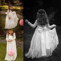 Wholesale High Collar Dresses For Church - 2015 Vintage Lace Flower Girls Dresses Long Sleeve Princess High Neck Sheer Church Wedding Kids Formal Party Dress Girls Dress For Weddings