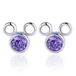 Wholesale Flashing Stud Earrings - Super Flash Zircon Crystal 925 Silver Plated Stud Earrings Mickey Cartoon Mouse Studs Female Women Jewelry F62