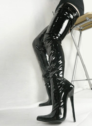 Wholesale Sexy Red Ankle Boots - Hot Sale Sexy Pointed Toes 18cm Spike High Heel Thigh High To Buttocks for Women Black Patent PU Leather Boots COS Stage Show