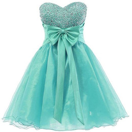 Wholesale Turquoise Short Dress Piece - Turquoise Beading Homecoming Dresses Sweetheart A Line Back Corset High Quality Organza Short party dress Mini Cocktail Party Gown