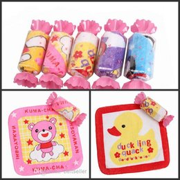 Wholesale Cartoon Sexy Hot - Lovely Cartoon candy cake towel 20*20cm Square Towel Wedding Birthday Souvenirs Gifts Favor Baby Shower Towel free shipping