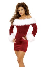 Wholesale Costume Santa Claus Woman Sexy - New High Quality Women Sexy Dresses Party Night Club Dress Christmas Dresses Off The Shoulder Dresses Free Shipping
