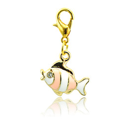 Wholesale Floating Fishes - Brand New Fashion Floating Charms Alloy Lobster Clasp 4 Color Rhinestone Fish Charms DIY Accessories Jewelry