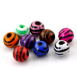 "Wholesale Wholesale Zebra Stripe Beads - 2015 New Free Shipping 100PCs Mixed Zebra Stripe Round Acrylic Spacer Beads 12mm(4 8"") Dia. Free Shipping"