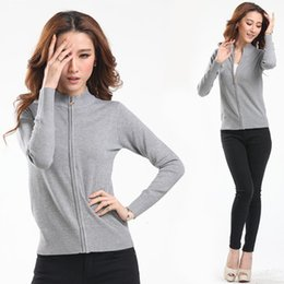 Wholesale ladies warm coats - autumn winter women cardigan female warm sweater 2017 New zipper grey black zip knit ladies long-sleeve coat jacket