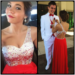 Wholesale Dress Party Promotion - Custom Made Red Prom Dresses Party Dresses Hot Sale Promotion Party Dresses 2016 Formal Chiffon Evening Prom Dress With Beaded