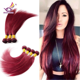 Wholesale Cheap Remy Hair Red - Free Shipping 4pcs lot Malaysian Virgin Hair Straight 100% Unprocessed Human Hair Weaves 99j# Red Burgundy Cheap Remy Human Hair Extensions