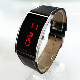 Wholesale led watches for girls - LED Watches For Ladies Leather red Digital Wristwatches Women Boys Girls Unisex Luxury Brand Watch Men