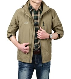 Wholesale Thin Breathable Coat - Winter Mens Solid Waterproof Jackets Spring Thin Outerwear with Hoody Breathable Good For Activity Coats Khaki M-3XL