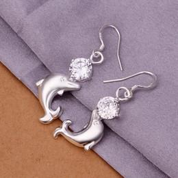 Wholesale sterling silver drop earings - 925 Sterling Silver fashion Jewelry Zircon Dolphin Drop Earings New e270
