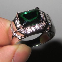 Wholesale Solitaire Emerald Rings - Fancy Men's 925 Silver Filled Oblong Emerald with CZ Side Stone Ring