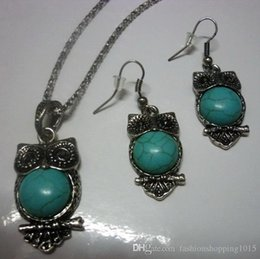 Wholesale Owl Earrings China - Gypsy Small Vintage Silver Stone Turquoise Owl Jewelry Jewellery Bijouterie Set Earrings Pendant Necklace Gift for women